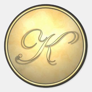 monogram_gold classic round sticker