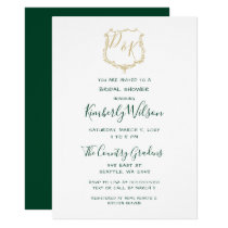 Monogram Gold Crest and Forest Green Bridal Shower Card