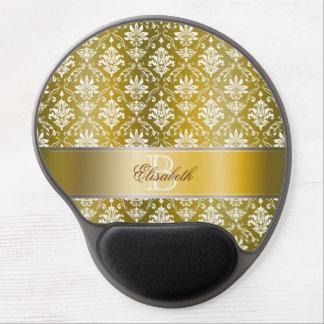 Monogram Gold Damask Gel Mouse Pad