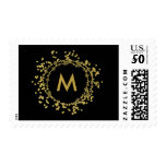 Monogram Gold Decorative Christmas Holiday Stamp<br><div class='desc'>Stunning gold faux foil decorative Christmas holiday postage stamps with classic black background. Easily add your monogram initial.</div>