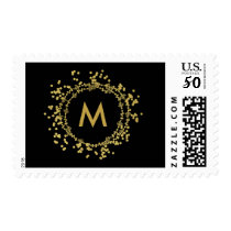 Monogram Gold Decorative Christmas Holiday Stamp