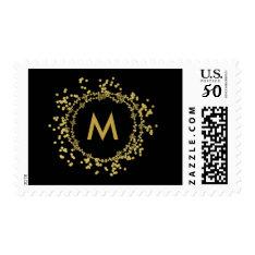 Monogram Gold Decorative Christmas Holiday Stamp at Zazzle