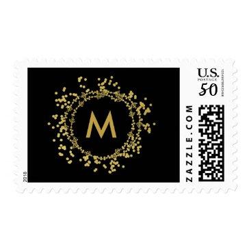 Christmas Themed Monogram Gold Decorative Christmas Holiday Stamp