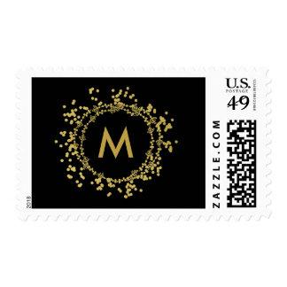 Monogram Gold Decorative Christmas Holiday Stamp