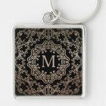 Monogram Gold Filigree Motif Key Chain