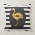 Monogram Gold Flamingo Black White Stripes Pillow