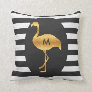 Monogram Gold Flamingo Black White Stripes Throw Pillow