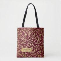 Monogram Gold Flourish Burgundy Luxe Nameplate Tote Bag