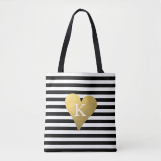 Monogram Gold Foil Heart Tote Bag