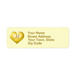 Monogram gold glass heart label