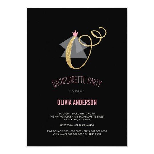 Monogram Gold Glitter Bachelorette Party Invite