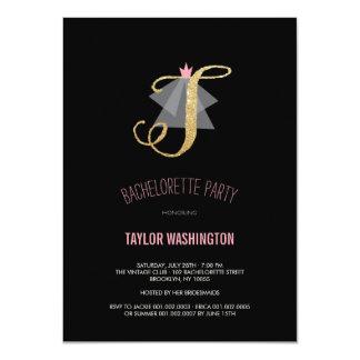 Monogram Gold Glitter Bachelorette Party Invite Personalized Invite