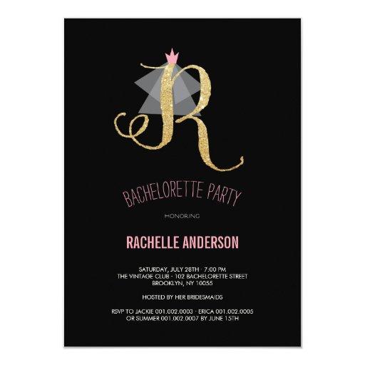 Monogram Gold Glitter Bachelorette Party Invite Announcements