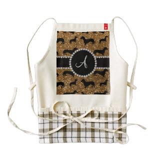 Monogram gold glitter dachshund zazzle HEART apron