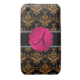 Monogram gold glitter damask iPhone 3 Case-Mate cases