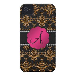 Monogram gold glitter damask iPhone 4 cover
