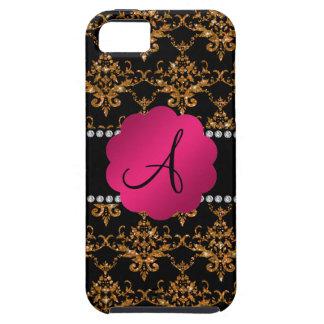 Monogram gold glitter damask iPhone 5 covers