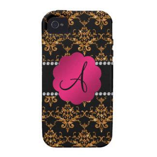 Monogram gold glitter damask iPhone 4 covers