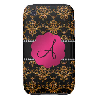 Monogram gold glitter damask tough iPhone 3 covers