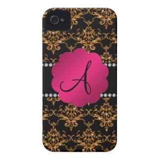 Monogram gold glitter damask blackberry bold cases