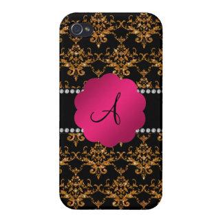 Monogram gold glitter damask iPhone 4/4S cases