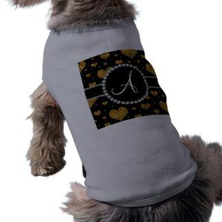 Monogram gold glitter hearts black diamond circle pet clothes