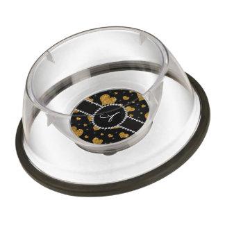 Monogram gold glitter hearts black diamond circle pet bowl