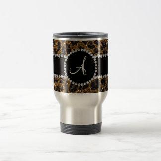 Monogram gold glitter leopard travel mug