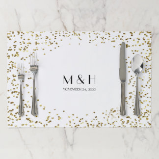 Monogram Gold Glitter Wedding Table Setting Paper Placemat