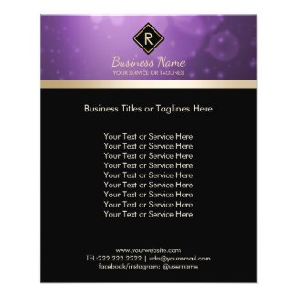 Monogram Gold initial Logo Modern Black & Purple Flyer
