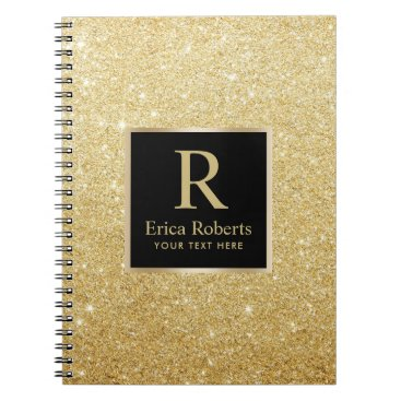 Lawyer Themed Monogram Gold Initial Modern Faux Gold Glitter Notebook