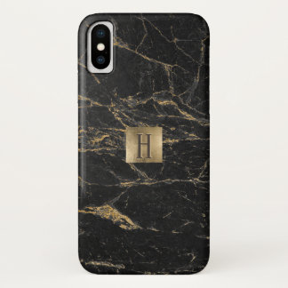 Monogram Gold Label Elegant Black & Gold Marble iPhone X Case