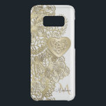 "Monogram Gold Lace and Celtic Heart Uncommon Samsung Galaxy S8 Case<br><div class=""desc"">Monogram Gold Lace and Celtic Heart Galaxy S8 Case. Metallic gold lace pattern on white or your choice of background color with a gold Celtic Heart Knot and your monogram. Celtic knots are a traditional Celtic art form, characterized by having no beginning and no end and symbolizing eternal love and...</div>"