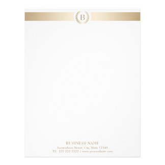 Monogram Gold Laurel Wreath Modern Elegant Letterhead
