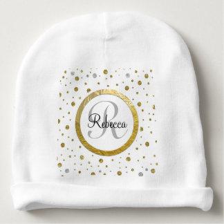 Monogram Gold Leaf Print Silver Confetti Baby Beanie
