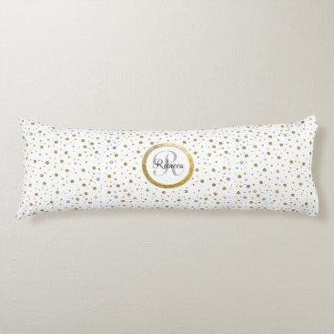 Monogram Gold Leaf Print Silver Confetti Body Pillow