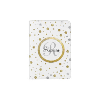 Monogram Gold Leaf Print Silver Confetti Passport Holder