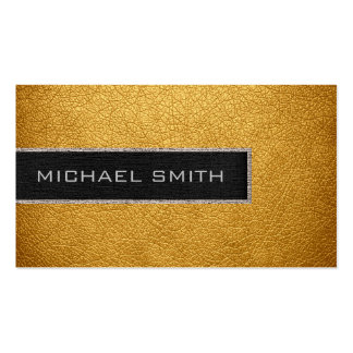 Monogram Gold Leather Look Business Card