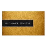 Monogram Gold Leather Look Double-Sided Standard Business Cards (Pack Of 100)