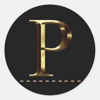 Monogram gold letter P Your Sticker