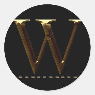 Monogram gold letter W Your Sticker