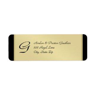 Monogram Gold Metal Black Wedding Address Label label