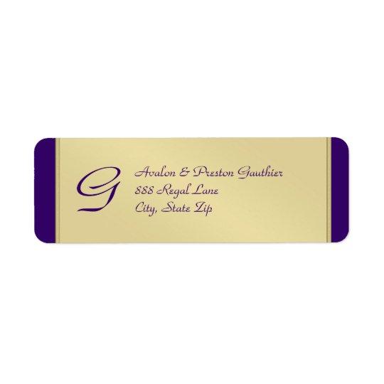 Monogram Gold Metal Purple Wedding Address Label