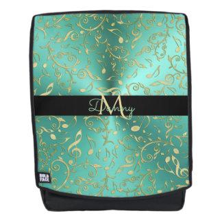 Monogram Gold Music Notes Pattern On Light Teal Backpack
