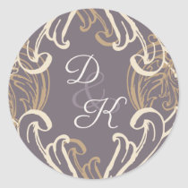 Monogram Gold Purple Vintage Invitation Classic Round Sticker