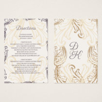 Monogram Gold Purple Vintage wedding Details card