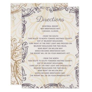 Monogram Gold Purple Vintage wedding Details card