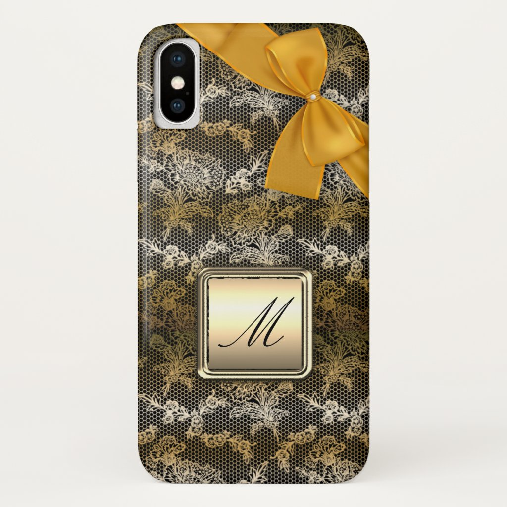 Monogram Gold Ribbon and Lace Black Case-Mate iPhone Case