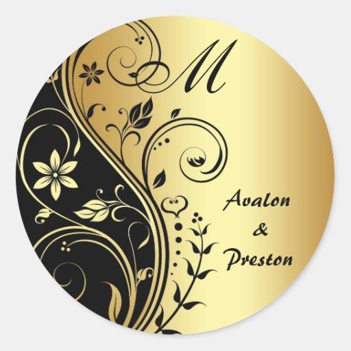 monogram gold scrollwork flower wedding sticker zazzle