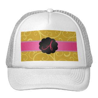 Monogram gold swirls hats